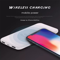 QI Wireless Power Bank 10000mah Power Bank External Battery Dual Output Dual Input Portable Charger for IPhone8 X Note9