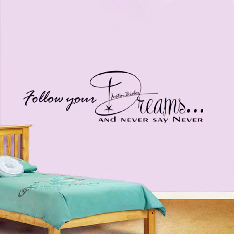 2016 Hot Justin Bieber Lyrics Wall Stickers Never Say Never Boy 39 S Bedroom Wall Art Decor 3d