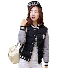 2016 New Winter Jacket Women Korea Uniform Warm Short Jackets Coat Cotton Stand Collar Female Parkas