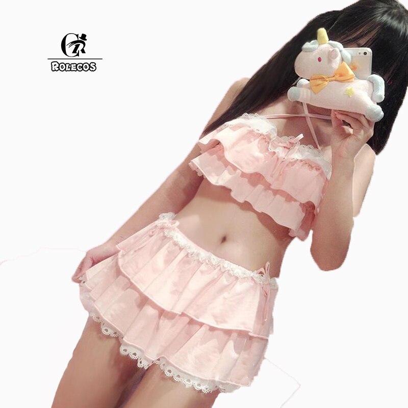 ROLECOS 2016 Nuove Donne di Arrivo Lolita Bikini Colore Rosa e Nero Swim Wear Scava Fuori Hem Multistrato Donne biquini Costume Da Bagno
