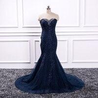 Винтажное темно синее кружевное вечернее платье с аппликацией 2019 Русалка без рукавов вечерние платья элегантные женские длинные платья то