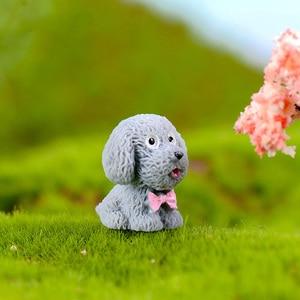 Image 5 - 4 adet/grup Teddy Köpek Minyatür Heykelcik Sevimli karikatür Figürleri hayvan modelleri Pet oyuncak DIY Aksesuarları Bebek Evi oyuncak Dekorasyon