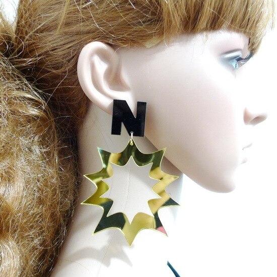 c1873f42d7 Mody Osobowości Punk Akrylowe List Geometryczne Kolczyki Biżuteria  Akcesoria Kobiece Night Club