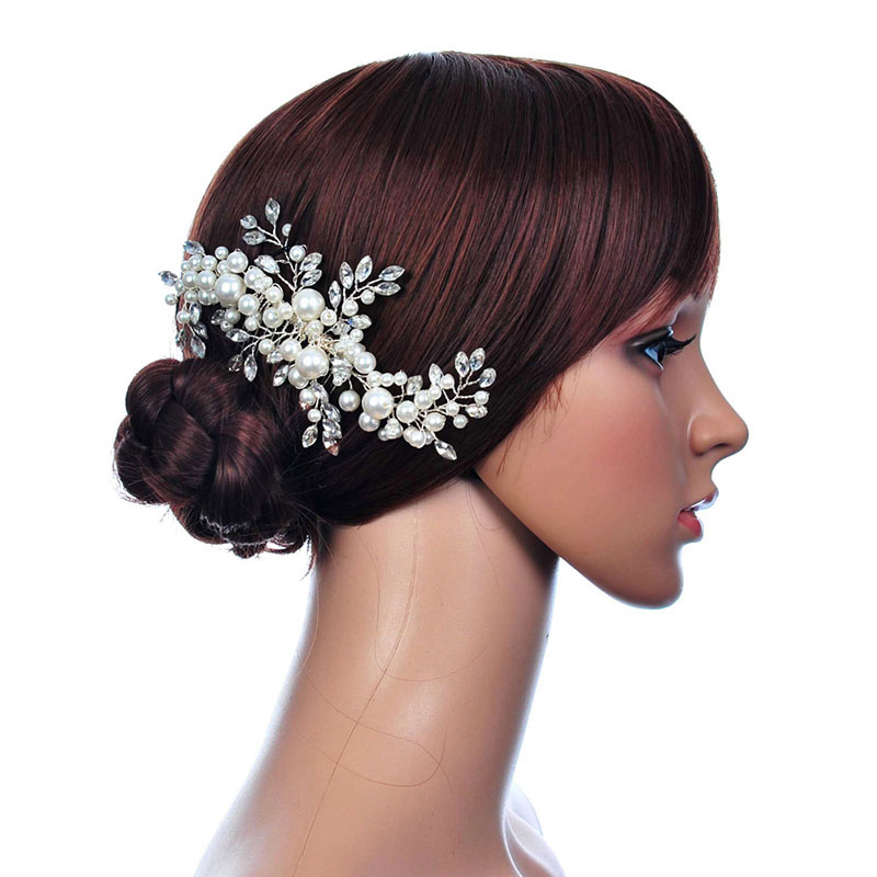 Crown Wedding Hair Accessory: Wedding Hair Accessories For Noiva Pearl Flower Hair Comb