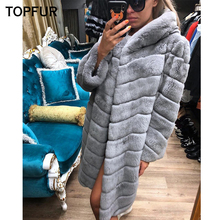 TOPFUR Women New Style Real Fur Coat With Hood Winter Natural Rex Rabbit Outwear 2018 Fashion