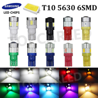 10pcs High Power Led Car Light T10 6smd 5630 5w5 12v T10 Cree Lens Projector Solid