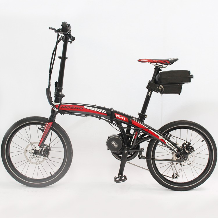 Free Shipping Folding Electric Bicycle 48V 350W 8FUN Bafang Mid Drive Motor Foldable Ebike+48V 12AH Li-ion Seatpost Battery free shipping bafang 8fun ebike 48v 500w bbs02 mid crank drive motor kit with c965 or color 850c display free shipping