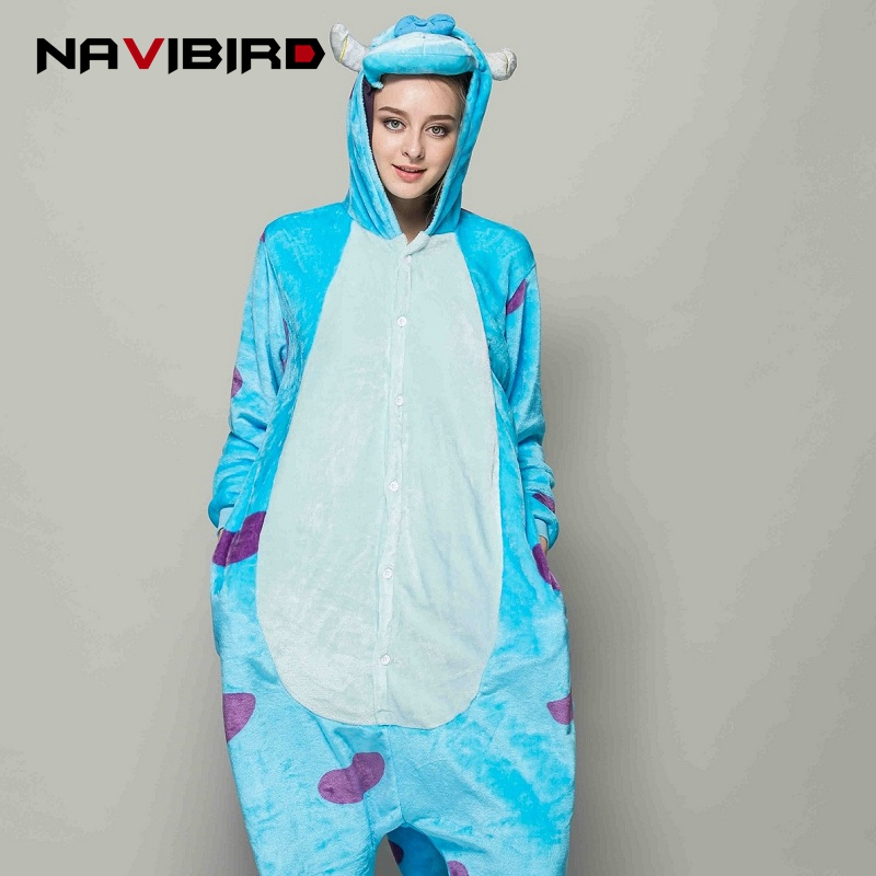 Kigurumi Monster Sulley Onesie Woman Adult Onesies Pyjamas Anime Pajamas Unisex One-Piece Sleepwear Pijama Monster Sullivan ...