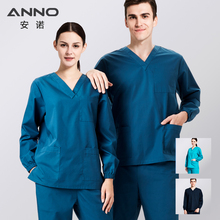 5223238c693 Winter Long Sleeves Hospital Nursing Uniform Overall Medical Cotton Spandex  Scrubs Women Man Surgical Suit Outfit