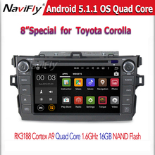 Free shipping Quad Core Android 5.1.1 Car DVD For  Corolla 2007-2011 with Radio GPS  radio wifi BT support OBD2 DVR easy connect