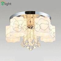 2016 современный простой Гостиная блеск de cristal светодиодный потолочный Цветок Матовые Стекло Дистанционное управление затемнения потолочны