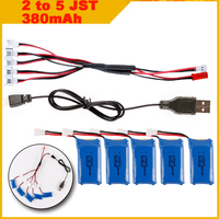 380MAH 3.7V Lipo Battery with 5pcs in JST 2 to 5 Battery Charger for Hubsan H107L H107C H107D V252 F180 U816A U830 RC Quadcopter