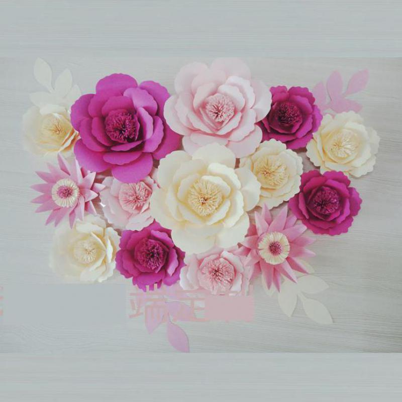 contextos de la boda de flores de papel gigantes para mostrar props flores artificiais prr decora