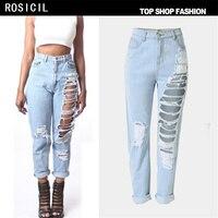 ROSICIL 2017 venta Caliente de Las Mujeres ripped jeans boyfriend jeans de Moda para mujer Loose agujero pantalones de mezclilla Envío libre T-SL022