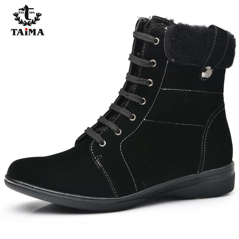 TAIMA Brand Women Boots Female Winter Shoes Woman Warm Snow Boots Fashion Suede Fur Ankle Boots Black Brown Size 36-41  new fashion style snow boots winter fashion black brown warm fur women casual shoes on sale size 34 39