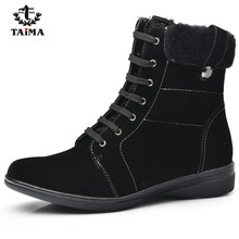 TAIMA Brand Women Boots Female Winter Shoes Woman Warm Snow Boots Fashion Suede Fur Ankle Boots Black Brown Size 36-41