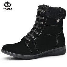 TAIMA Marque Femmes Bottes Femme Chaussures D'hiver Femme Chaud Bottes de Neige De Mode En Daim Fourrure Cheville Bottes Noir Brun Taille 36-41