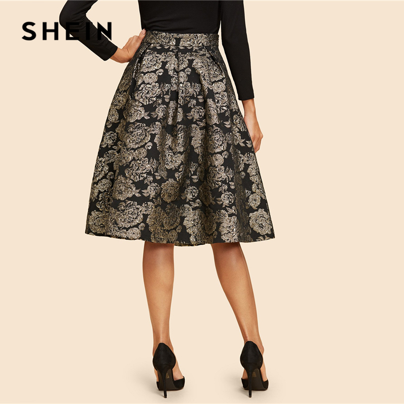 SHEIN Vintage Gold Flower Print Mid Waist Flare Knee-Length Skirt 2018 Autumn Elegant Modern Lady Women Skirts 2