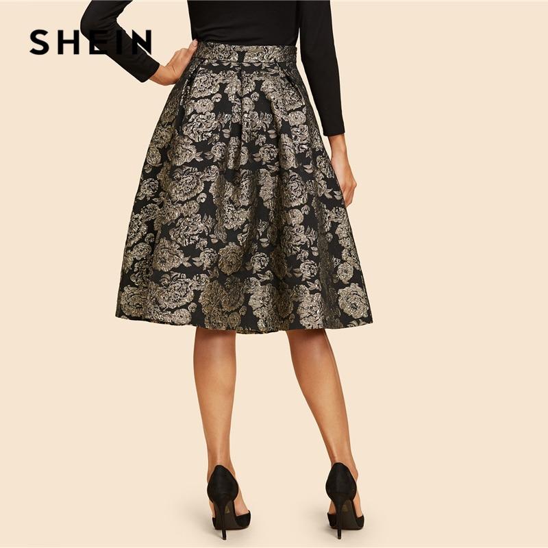 Image 2 - SHEIN Vintage Gold Flower Print Mid Waist Flare Knee Length Skirt 2018 Autumn Elegant Modern Lady Women Skirts-in Skirts from Women's Clothing