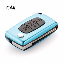 TYUI New Aluminum Cyan 3 Buttons Flip Remote Car Key shells fob with Trunk for Peugeot 407 CE0536