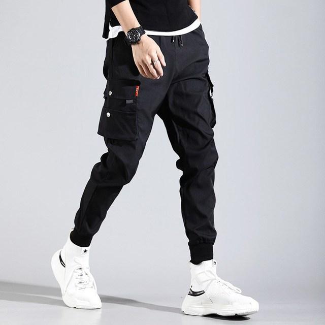 Hip hop homem pantalones hombre alta rua kpop calças de carga casual com muitos bolsos corredores modis streetwear harajuku