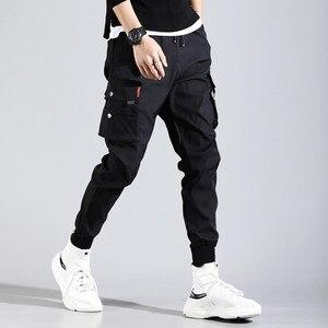 Image 1 - ヒップホップ男性 Pantalones やつ高ストリート Kpop カジュアルカーゴパンツ多くポケットジョギング Modis ストリートズボン原宿