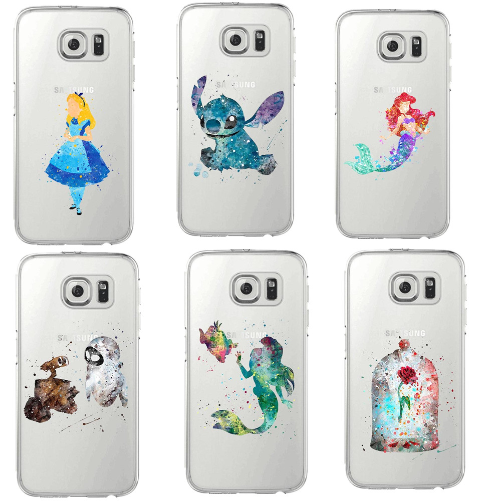 Beauty of the beast stitch Soft Cover For Samsung Galaxy S5 S6 Edge S7 edge Mermaid princess Mickey Mouse angel watercolor art