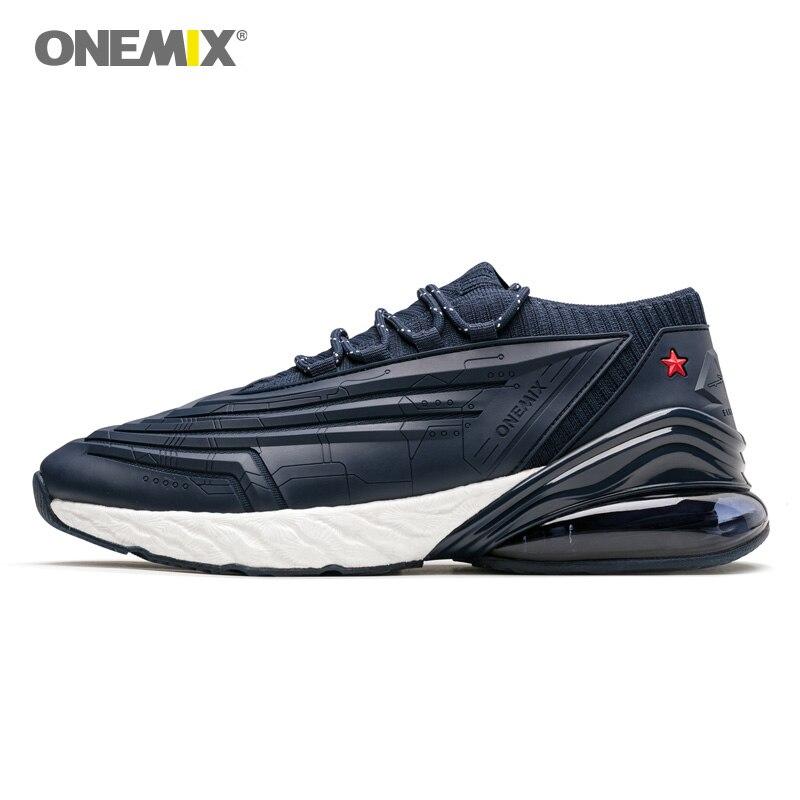 Chaussures de course pour hommes-ONEMIX 270 cuir Air supérieur amorti semelle intermédiaire souple baskets décontracté chaussures d'extérieur Max 47