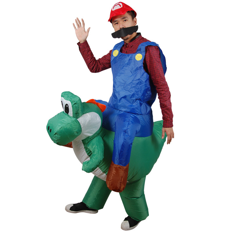 Inflatable Costume Super Mario Bros Luigi Brothers Plumber Costumes Adult Man Women Funny Mario Riding Cosplay Fancy Dress Up