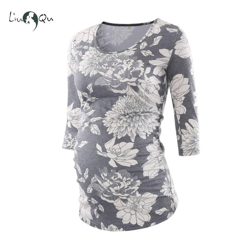 6f686db749590 Floral Blouse Maternity Clothes Side Ruched 3 Quarter Sleeve Maternity  Vintage Flower Jersey Top Pregnancy Clothes Women Tops-in Blouses & Shirts  from ...