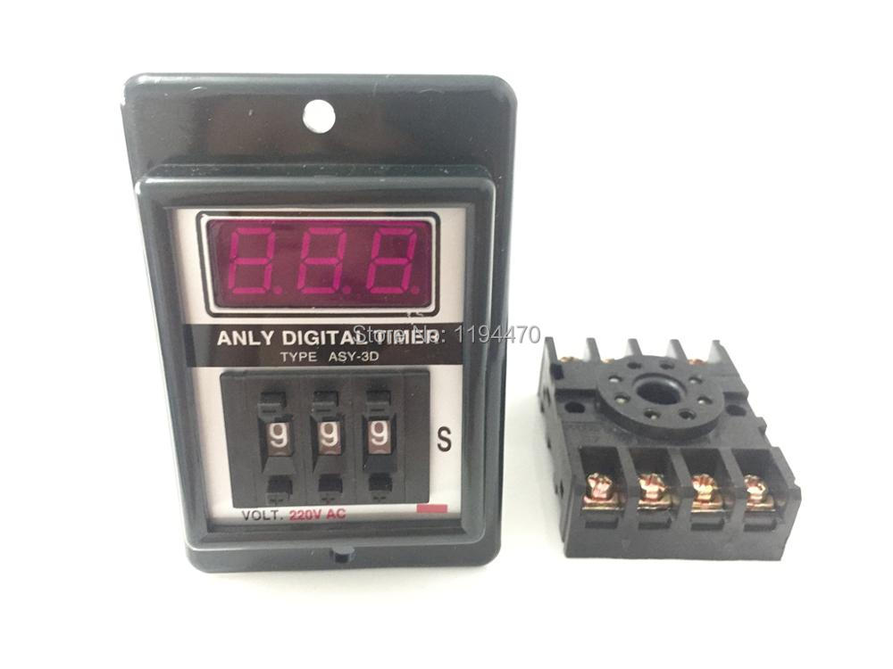 2 set/Lot ASY-3D 1-999s AC 220V Power On Delay Timer Digital Time Relay 1-999 second 220VAC 8 Pin with PF083A Socket Base black dc 24v power on delay timer time relay 0 1 9 9 second 8 pins asy 2d
