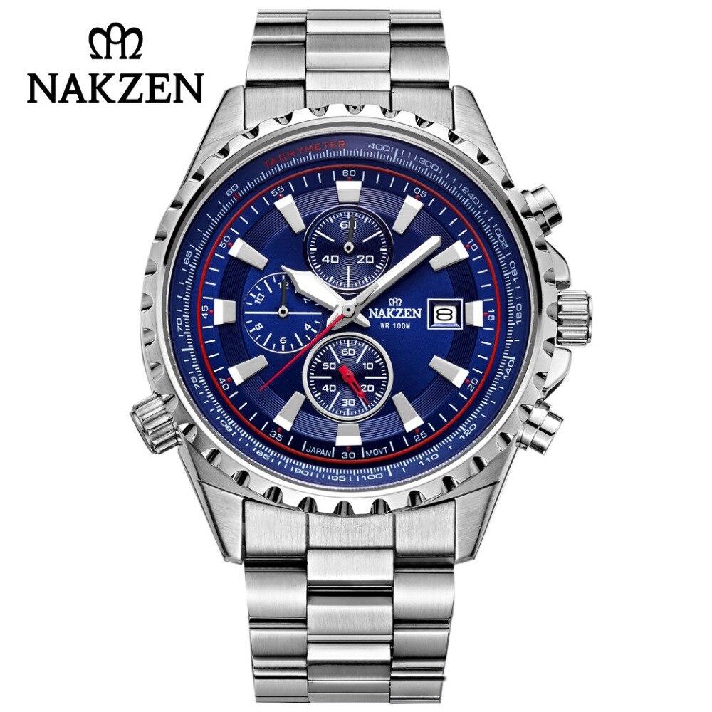 NAKZEN Деловые синие мужчины наручные часы спортивные нержавеющая сталь кварцевые часы водонепроницаемые 10 бар Мужские часы Edifice Relogio Masculino
