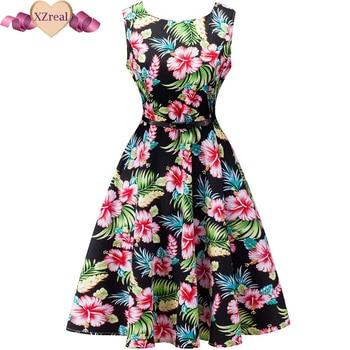 Vintage dresses Summer women rockabilly fashion flower print casual dresses with belt elegant 1950s Audrey Hepburn casual dress