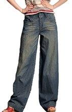 ТМ Женщин Ретро Повседневная Мода Раскинулись Широкие Ноги Джинсы Плюс Размер Синий