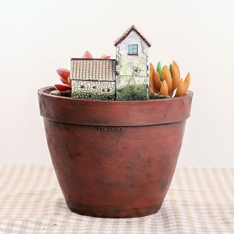 Image 4 - Roogo Fairy House Pots For Flowers Resin Sky Garden Flowerpot Home Garden Decorative Flower Pots Succulents Bonsai Pot-in Flower Pots & Planters from Home & Garden