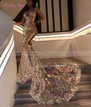 Sparkly Sequined V-Neck Mermaid Prom Dresses