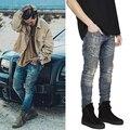 Англия Стиль мужские slp синий Стрейч ripped байкерских джинсы тощий свет Проблемных kanye west хип-хоп уличная swag брюки