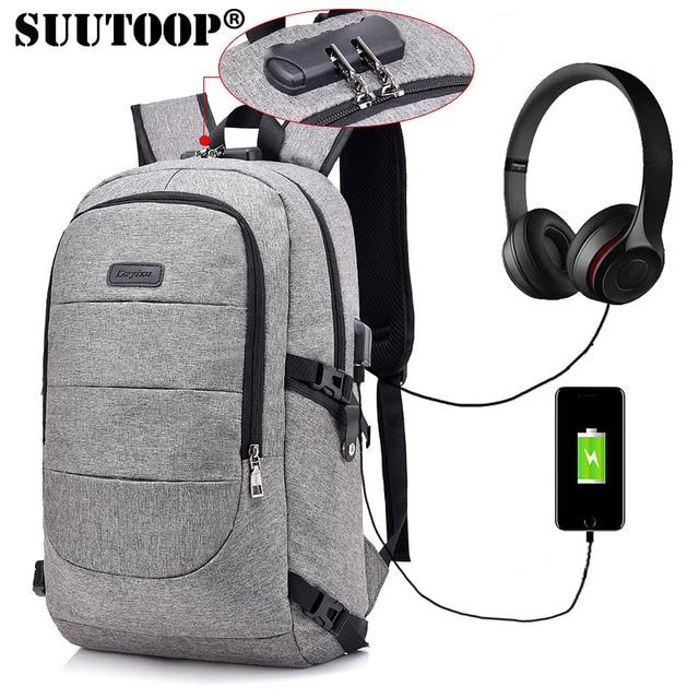 548c7f7d3512 SUUTOOP anti theft backpack multifunction usb charge men laptop backpacks  school bags mochila leisure travel backpack