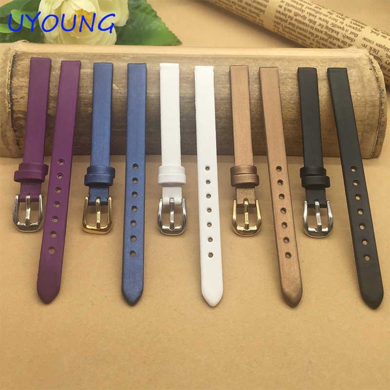 איכות הסתחרר משי + עור אמיתי רצועת השעון 6mm 8mm 10mm עבור נשים שעון יד