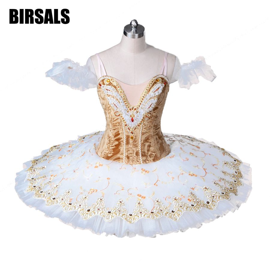 Adult Professional Ballet Tutus Gold White Pancake Tutu Skirt Ballerina Professional Ballet Tutu Stage Costume For