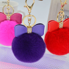 Free Shipping bowknot fur pom key chain women Rabbit Fur Ball Keychain key rings Key Chain fur For Bag Keychain car