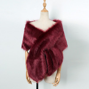 Image 4 - MIARHB Women Scarf Faux Fox Fur Long Shawl Wrap Shrug Scarf Pashmina Bridal Wedding Winter Thick Warm stola echarpe hiver femme