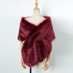 Image 4 - MIARHB kobiety szalik sztuczne futro z lisa długi szal Wrap wzruszając ramionami szalik Pashmina ślubne zimowe grube ciepłe stola echarpe hiver femme