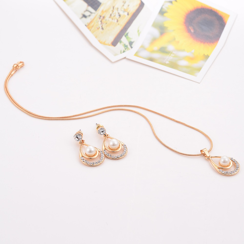 Valentine Day Gifts Gold Color Simulated Pearl Water Drop Crystal Pendant Necklace Earrings Wedding Jewelry Sets For Women 5