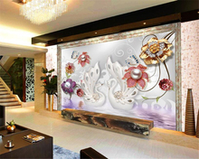 beibehang 3D Modern classic wallpaper European elegant white swan round ball interior silk background wall 3d tapety