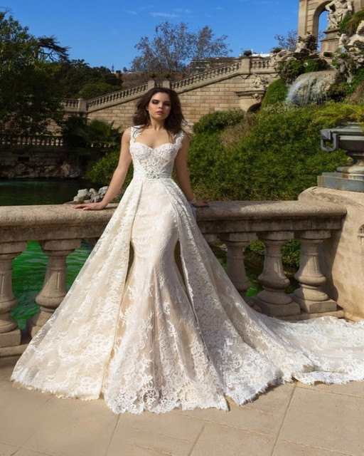 2016 New Designed Removed Train Wedding Dress Strap Sleeveless Mermaid Bridal Gowns Lace Long Robe de Mariage VAWD1017