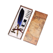 Quill High Quality Luxury Fountain Pen Box Gift Set Color Feather Pen Vintage Calligraphy Dip Ink Pen for Writing Business gift все цены