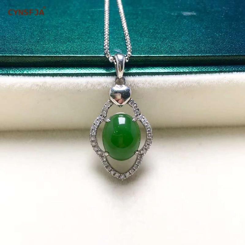 Certificado Natural Hetian Jasper Embutidos 925 Sterling Silver Handmade Cabaça Sorte Pingente de Jade Verde de Alta Qualidade Os Melhores Presentes