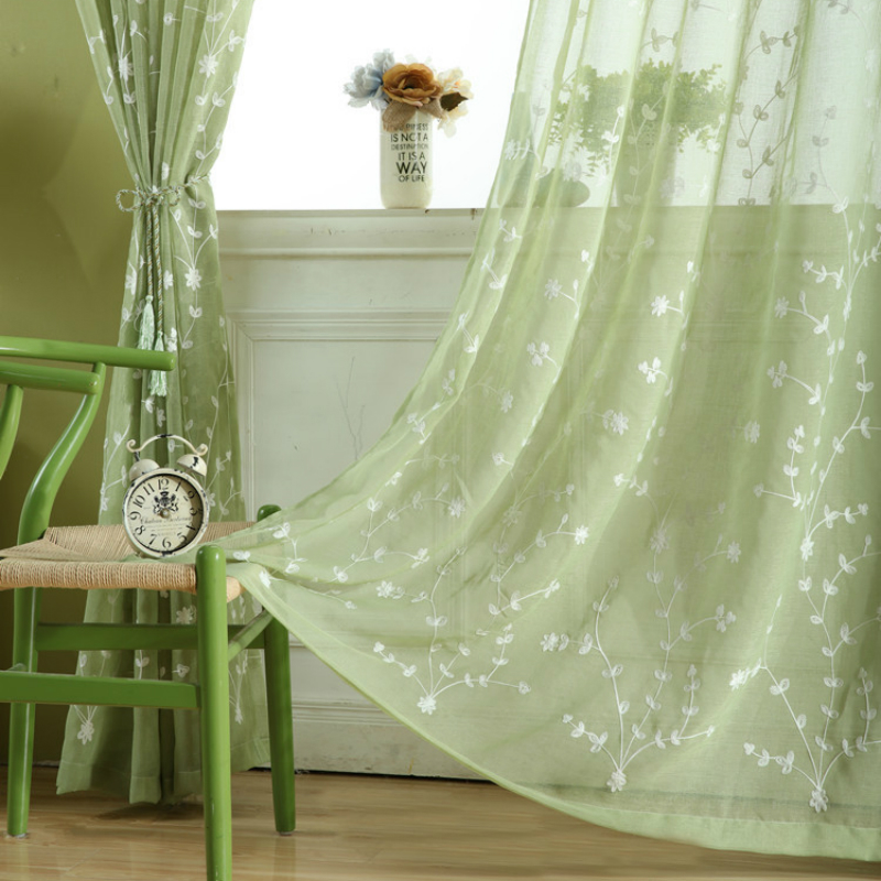 Curtains For Living Dining Room Bedroom Tulle Sheer Yarn American Country Curtain Embroidered Green Leaves A