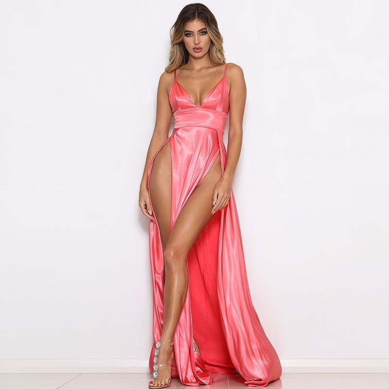 Elegant Candy Color Homecoming Reflective Dresses High Silk Satin Spaghetti Strap Party Dress Double Split Dresses Femme